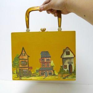 Handbags - VTGVillage decoupage cigar box lucite handle bag